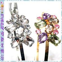 ☆POLLY媽☆歐美BRASH水滴形方形橢圓形圓形抓鑽寶石排列造型金色、銀色金屬細版髮箍