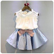 【溜。溜。選物】春季新款1+1女童網格無袖襯衫+百褶珍珠蝴蝶結短裙套装兩件組