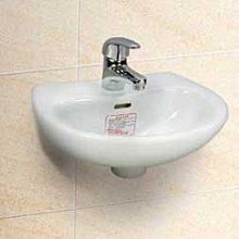 台中興大水電衛浴設備-台灣摩登L-30小型洗臉盆+台製利發牌龍頭+臉盆配件