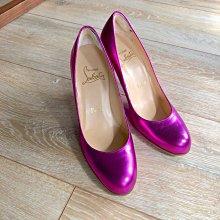 Christian Louboutin 霧面金屬桃紅色 紫紅色 高跟鞋 紅底鞋 正品 85新 穿不到幾次 37(36)