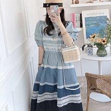 BOSHOW 韓國連線 正韓 法式浪漫刺繡蕾絲拼接公主袖洋裝