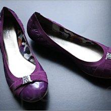 真品 Coach Shoes 紫色亮面真皮經典款舒適平底鞋包鞋娃娃鞋芭蕾舞鞋子 8號 25號 免運費 愛Coach包包