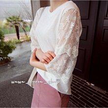 正韓:手袖雙層蕾絲上衣(6色)