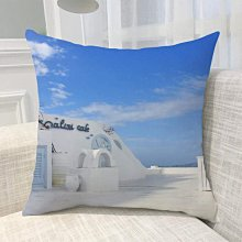 《獨家預購》歐洲風景抱枕定制 聖托里尼島超柔舒適抱枕靠墊 來圖客製化家用聖托里尼島 可來圖訂做 生日禮物bz1814