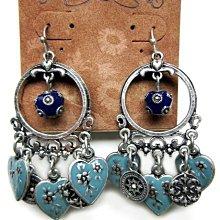 Change Fashion【歐美】LuckyBrand國外帶回波希米亞琺瑯愛心古典精緻時尚氣質復古設計造型耳環