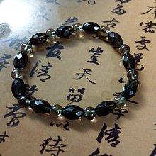【開運如意閣】J306-3天然 水晶~茶水晶手鍊-鑽面長橢圓+6mm圓珠-手圍約17.5公分~過濾 穩定 平和 化煞