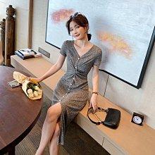 針織開叉洋裝女夏季收腰修身顯瘦氣質性感包臀V領長裙 全館免運