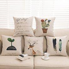 J-life 北歐風/法式田園鄉村棉麻沙發枕 靠枕  抱枕套  不含枕芯 45×45