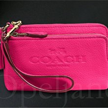 Coach 桃紅色粉紅色馬車LOGO雙層拉鍊手拿包手腕包 可放 IPHONE 6手機內有卡片夾層免運費 愛Coach包包