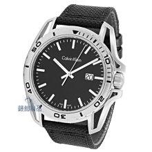 【錶飾精品】CK錶 K5Y31TB1 紳士運動款 日期 黑面銀框 黑帆布皮帶男錶 全新原廠正品
