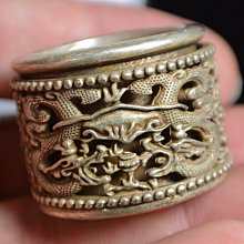 [天地居] 紋銀 藏銀 足銀 轉運扳指 戒指 雙龍戲珠