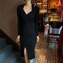 小性感優雅連身裙 V領吊帶坑條針織長袖洋裝 艾爾莎【TAE8728】
