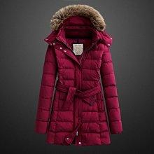 全新 ~ lativ 極暖修身長版連帽羽絨大衣 - 深紅 (M,L) 長版腰帶款式