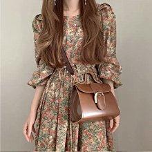 ☆╮PRiNcEsS-Mine╭☆法式設計感 小香風收腰顯瘦氣質長裙 復古古董碎花連衣裙 洋裝 gucci款