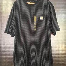 美國品牌 Carhartt 黑色灰色橫條紋棉質圓領休閒短袖T恤上衣(大尺寸)