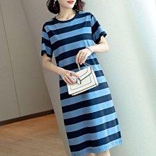 胖MM200斤條紋大碼連衣裙新款韓版寬松顯瘦中長款過膝短袖裙