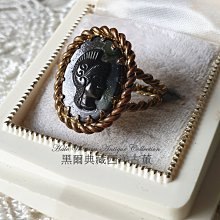 黑爾典藏西洋古董~德國黑塑料Cameo古銅花邊半開羅馬武士古董戒~Vintage復古珠寶收藏