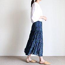 girlmonster 正韓 側開叉花樣長裙 (藍綠色)【A0775】