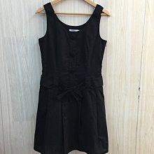 【愛莎&嵐】Lace 女 黑色蝴蝶結腰帶無袖洋裝/ 38 1100818