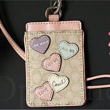 真品 COACH 61384 3D立體淺粉紅色真皮愛心裝飾 織布ID夾識別證夾可放車票 悠遊卡夾信用卡 愛Coach包包