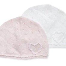 Ginny媽咪【mothercare】全新現貨棉質嬰兒帽白色粉紅色兩件組 帽圍36cm