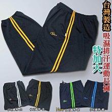 特加大尺碼 台灣製 吸濕排汗 運動長褲(003-9082)白織帶 藍織帶 綠織帶 金織帶 sun-e