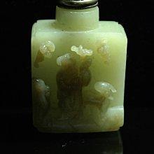 明清 老工 新疆和闐玉 糖玉 高浮雕 福祿壽壽翁 故事紋 鼻煙壺