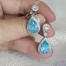 訂做藍鑽耳夾豪華富貴客製流行彩色鑽石4克拉純銀包白金耳環不過敏好舒適可改針耳釘 高碳仿真鑽莫桑石  FOREVER鑽寶