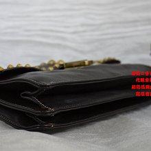 優買二手精品名牌店 PRADA 限量款 咖啡色 全皮 復古金屬 鉚釘 金屬鍊 金鍊 流蘇 肩背包 側背包 學院包 Suhail 兩用包