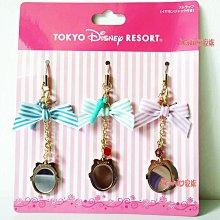 《東京家族》日本東京迪士尼樂園限定 灰姑娘/小美人魚/長髮公主 蝴蝶結寶石耳機塞手機吊飾鑰匙圈包包掛飾三入