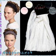 ☆POLLY媽☆美國LuLu nyc多層次荷葉邊針織紗運動型寬版髮帶11.5cm~黑色、灰色、粉紅色、象牙色、乳白色