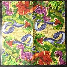 ❤Lika小舖❤33公分進口餐巾紙 美國帶回 動物卡通餐巾紙 蝶谷巴特 蝶古巴特侏儸紀公園2 恐龍化石暴龍迅猛龍飛龍標本
