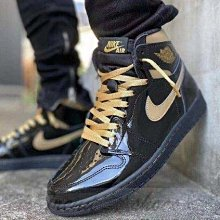 NIKE Air Jordan 1 High OG AJ1 復古 高幫 漆皮 黑金 籃球鞋 555088-032 男鞋