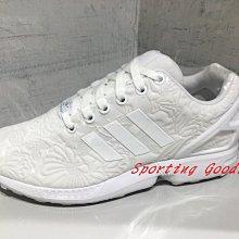 S.G ADIDAS ORIGINALS ZX FLUX W 全白 刺繡 花卉 花花 中國風 女鞋 S76590