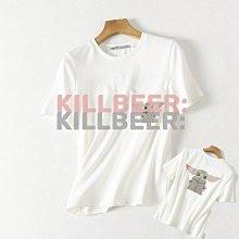 KillBeer:貪心女孩的新風格之 歐美復古星際大戰STAR WARS尤達大師尤達寶寶刺繡印花棉質百搭口袋短T恤上衣E041772