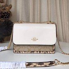 COACH 1424 秋冬新款Klare翻蓋鏈條包 女生風琴包 單肩包 斜挎包 蛇紋拼皮女包