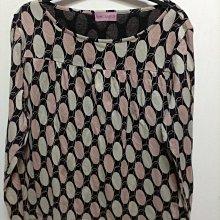 日本製品牌MINT BREEZE CO 黑底粉色米色大圈圈100% 棉 cotton 長袖上衣