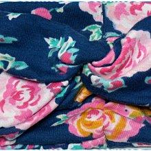 ☆POLLY媽☆歐美icing turban headwrap玫瑰圖案藍色針織棉質交叉穿繞寬版髮帶/大蝴蝶結壓夾一組