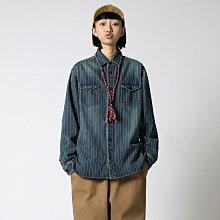 ►DR.DESIGN│DR32603-復古水洗 街頭中性 厚實 休閒 條紋 寬鬆 長袖 牛仔襯衫