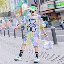 小圖藤童裝~~~中大童~~~女童T恤裙2021夏季新款中大童卡通印花上衣潮(A2643)