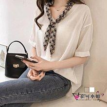 韓版 領巾 氣質 襯衫 上衣寬鬆短袖 雪紡衫【HC0012】 - 崔可小姐