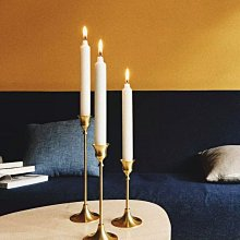 ROSE 銅燭台骨董復刻燭台 單頭燭台 拍攝道具 飾品陳列 家飾 不含蠟燭 金黃色 三隻裝