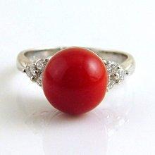 紅珊瑚 戒指 阿卡 圓珠 K金鑽戒 附保證書 【大千珠寶】