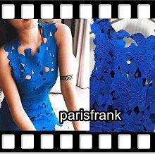 parisfrank~~轉賣scrappy koko store ~寶藍色滿滿花朵浪漫合身曲線洋裝(S號)