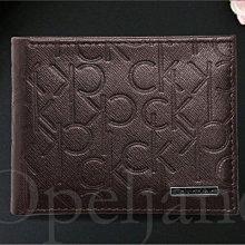 美國官網真品 CK Calvin Klein卡文克萊防刮真皮LOGO壓紋中夾短夾皮夾禮盒裝咖啡色免運費 愛Coach包包