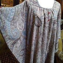 日本AURICULA 雪紡漂亮變形蟲印花 蝴蝶袖 寬版上衣L-XXL都可穿