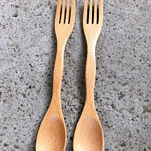 竹藝坊-木製湯匙叉子雙頭,兩用叉勺,叉匙