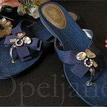 Coach Sandal Shoes 藍色愛心裝飾平底夏日人字夾腳涼鞋子海灘鞋拖鞋6號 23號 免運費 愛COACH包包
