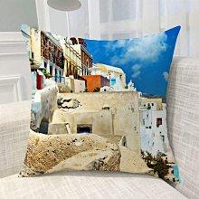 《獨家預購》歐洲風景抱枕定制 聖托里尼島超柔舒適抱枕靠墊 來圖客製化家用聖托里尼島 可來圖訂做 生日禮物bz1829