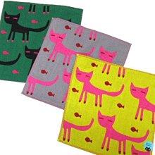 《散步生活雜貨》日本製 ATSUKO MATANO 俣野温子 眉眼貓 34cm 三重紗 方巾 手帕-三色選擇